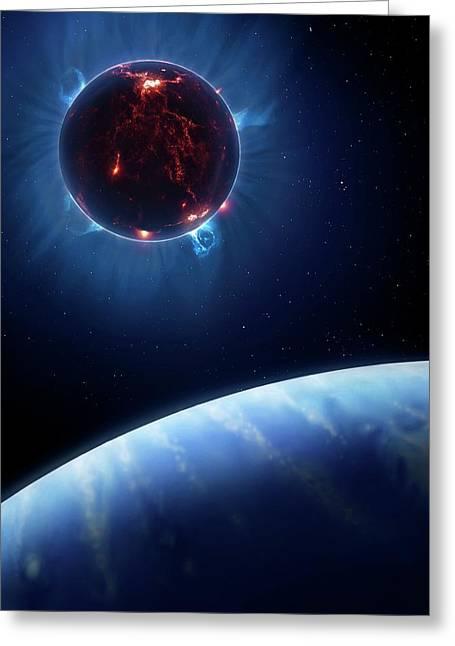Artwork Of Volcanic World Eclipsing Star Greeting Card by Mark Garlick