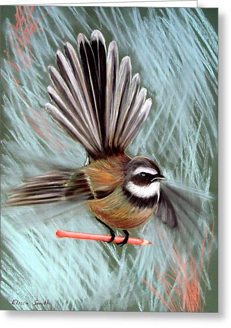 Flying Bird Pastels Greeting Cards - Arty Fantail Greeting Card by Elissa Smith