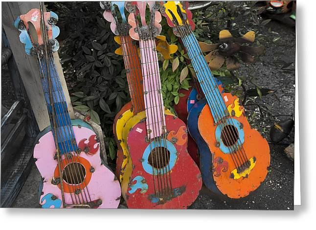 Ukelele Greeting Cards - Arty Yard Guitars Greeting Card by Greg Kopriva