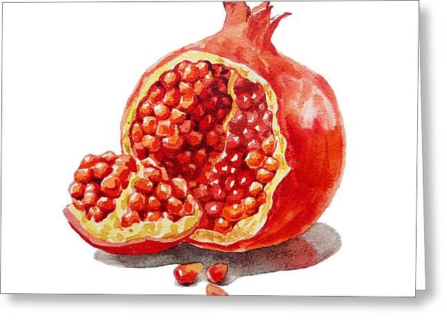 Farmers Market Fruit Greeting Cards - ArtZ Vitamins A Pomegranate  Greeting Card by Irina Sztukowski