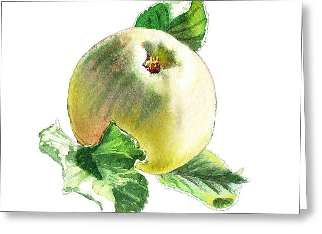Green Apples Greeting Cards - ArtZ Vitamins Series A Happy Green Apple Greeting Card by Irina Sztukowski