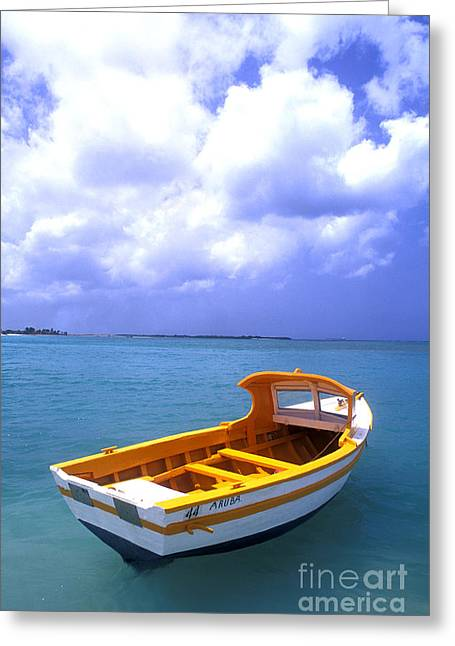 Boat On Water Greeting Cards - Aruba. Fishing Boat Greeting Card by Anonymous