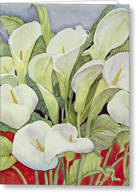Close Up Paintings Greeting Cards - Arum Lillies Greeting Card by Llian Delevoryas