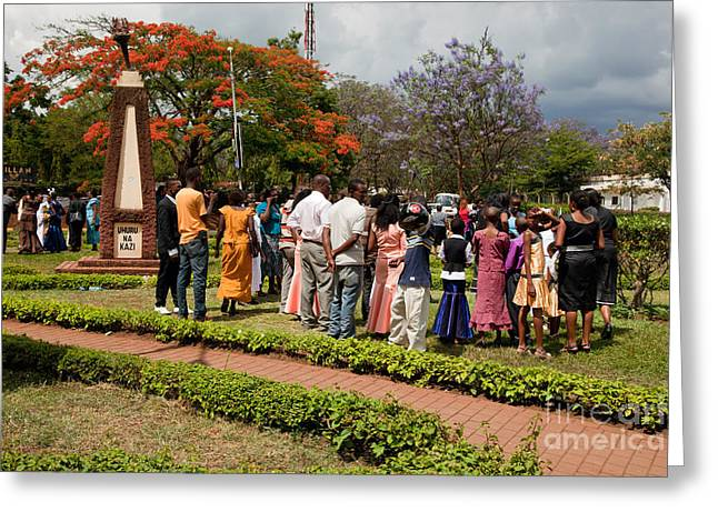 Playing Car Greeting Cards - Arusha. Tanzania. A group of people celebrating marriage Greeting Card by Michal Bednarek