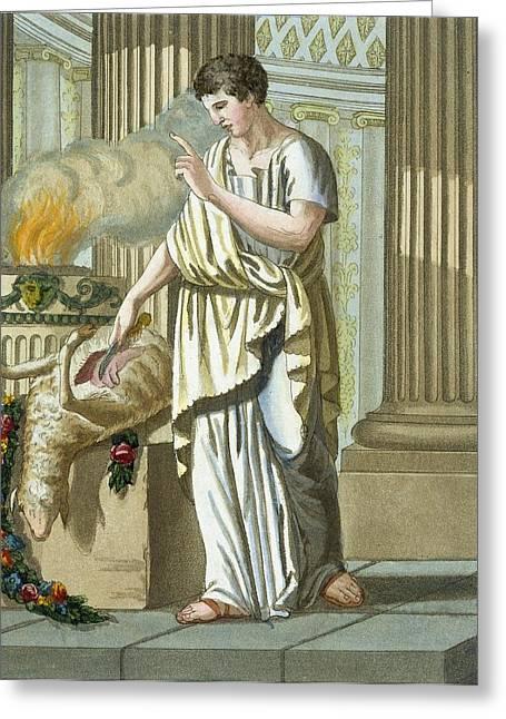 Sacrificial Drawings Greeting Cards - Aruspice, From Lantique Rome, Pub. 1796 Greeting Card by Jacques Grasset de Saint-Sauveur
