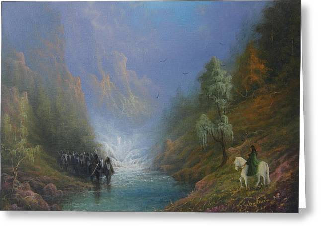 Lord Of The Rings Greeting Cards - Arwen Rise Of The River Bruinen Greeting Card by Joe Gilronan