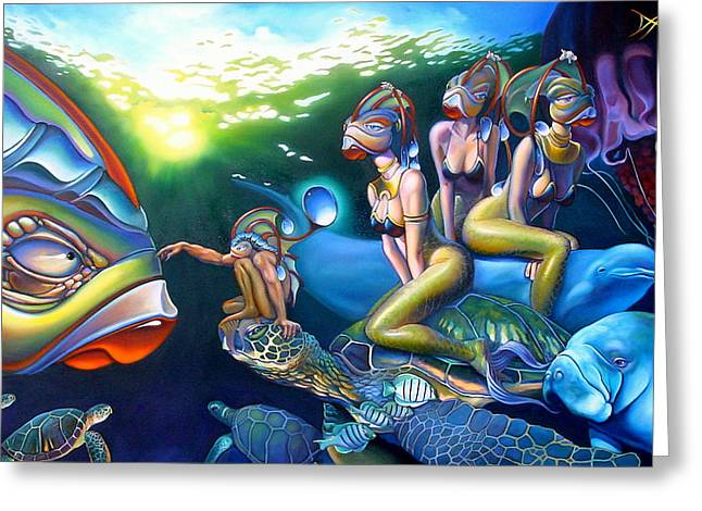Sea Turtles Greeting Cards - As Above So Below Greeting Card by Patrick Anthony Pierson