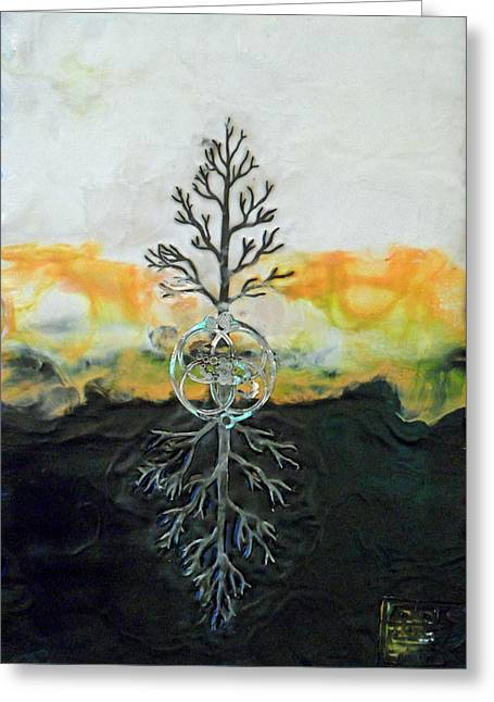 Tree Roots Mixed Media Greeting Cards - As Above so  Below Greeting Card by Sally Clark
