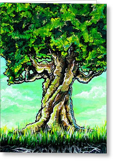 Tree Roots Paintings Greeting Cards - As above so below Greeting Card by SaxonLynn Arts