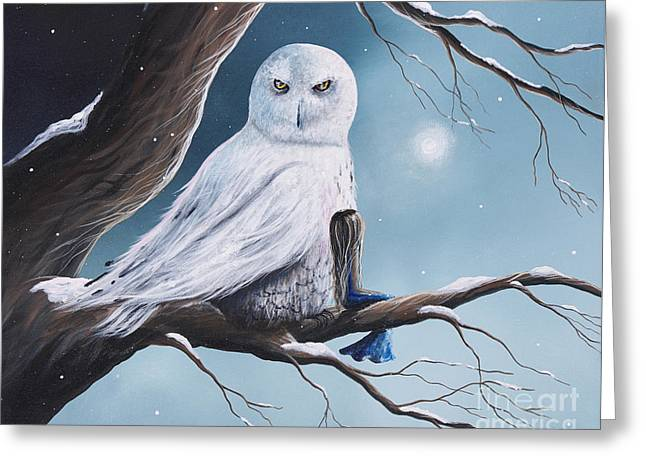 White Snow Owl Painting Greeting Card by Shawna Erback
