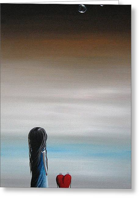 Floating Girl Greeting Cards - As Dreams Pass Her By by Shawna Erback Greeting Card by Shawna Erback