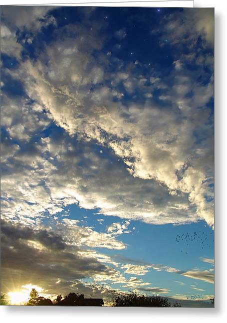 Reflection Of Sun In Clouds Digital Greeting Cards - As Evening Sets In Greeting Card by Glenn McCarthy Art and Photography