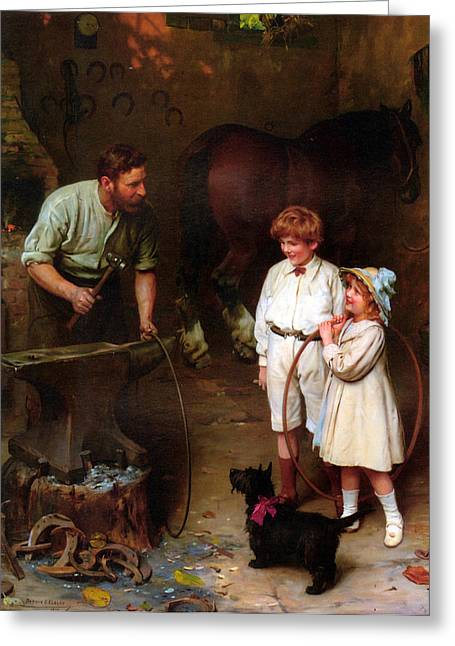 Little Boy Greeting Cards - As Good As Ever Greeting Card by Arthur John Elsley