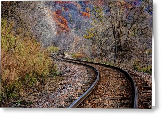 As I Walk The Tracks I Think Greeting Card by Kelly Marquardt