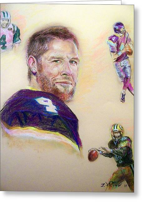 Quarterback Pastels Greeting Cards - As Legends Go Greeting Card by Tommy  Winn