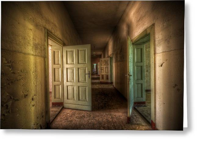 Spooky Door Greeting Cards - As one door closes Greeting Card by Nathan Wright