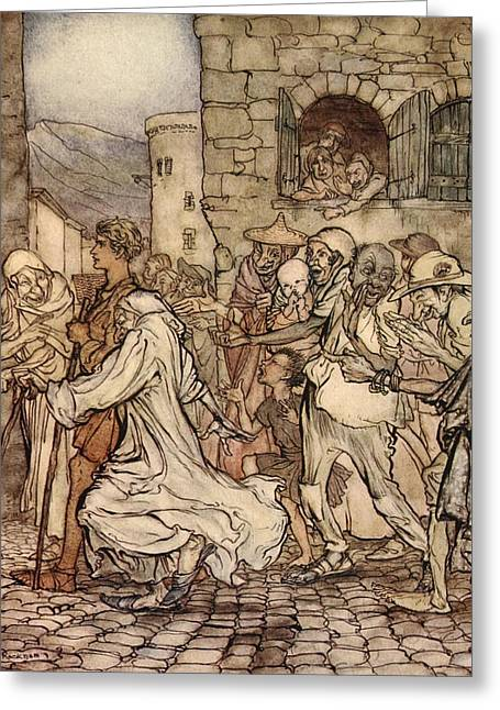 Greek Myths Greeting Cards - As Perseus Walked Along The People Greeting Card by Arthur Rackham