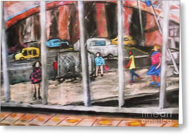 Traffic Pastels Greeting Cards - As The Building Sees Us Greeting Card by Lorrie Sniderman