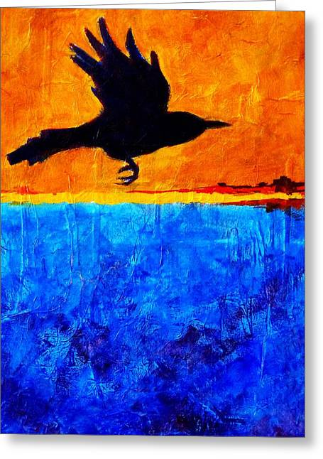 Business Movement Greeting Cards - As the Crow Flies Greeting Card by Nancy Merkle