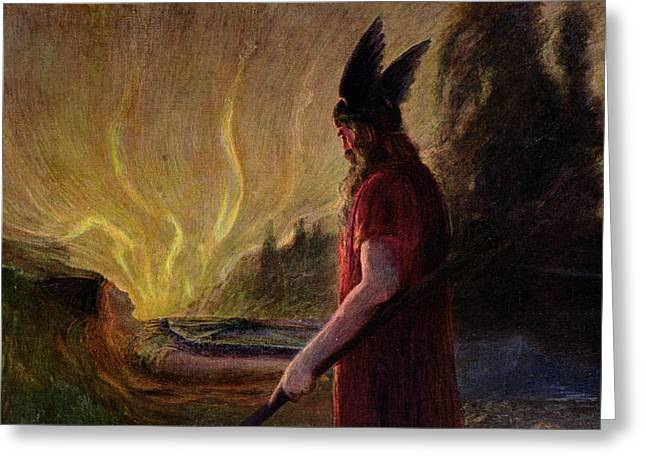 Hermann Greeting Cards - As the Flames Rise Odin Leaves Greeting Card by Hermann Hendrich