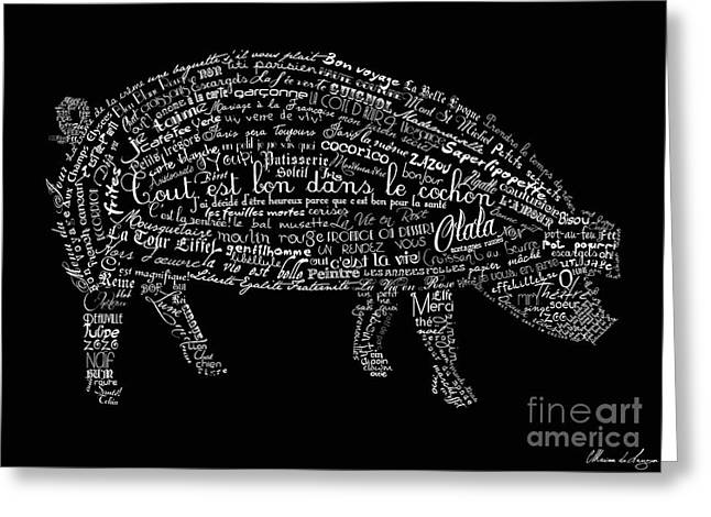 French Greeting Cards - As the French say... Cochon Greeting Card by Marion De Lauzun
