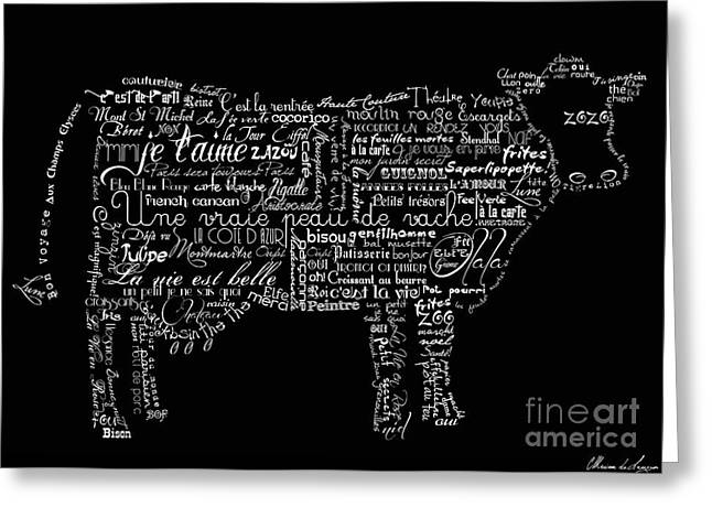 Words Greeting Cards - As the French say... Vache Greeting Card by Marion De Lauzun