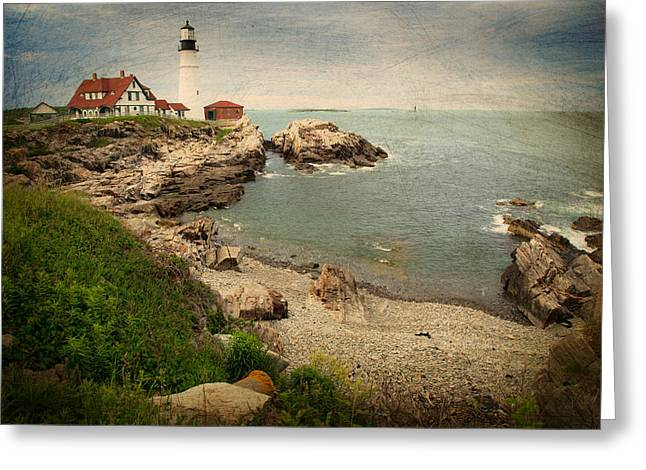Maine Shore Greeting Cards - As The House Looks Over Greeting Card by Karol  Livote