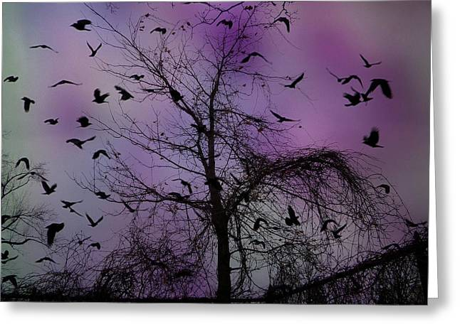 Gothicrow Greeting Cards - As The Night Turned Greeting Card by Gothicolors Donna Snyder