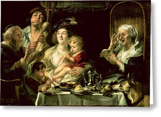 Flutes Greeting Cards - As The Old Sing, So The Young Pipe, 1638 Oil On Canvas Greeting Card by Jacob Jordaens
