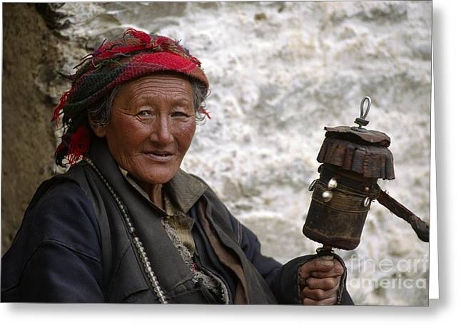 Rosary Greeting Cards - As the Prayer Wheel Turns - Tibet Greeting Card by Craig Lovell