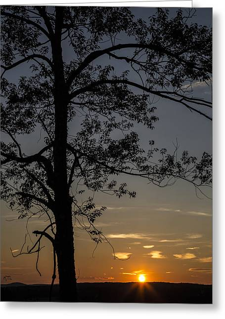 The Sun God Photographs Greeting Cards - As The Sun Fades Behind The Mountian Greeting Card by Karol  Livote