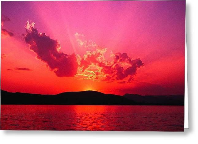 Amazing Sunset Paintings Greeting Cards - As The Sun Sets Greeting Card by Erica  Darknell