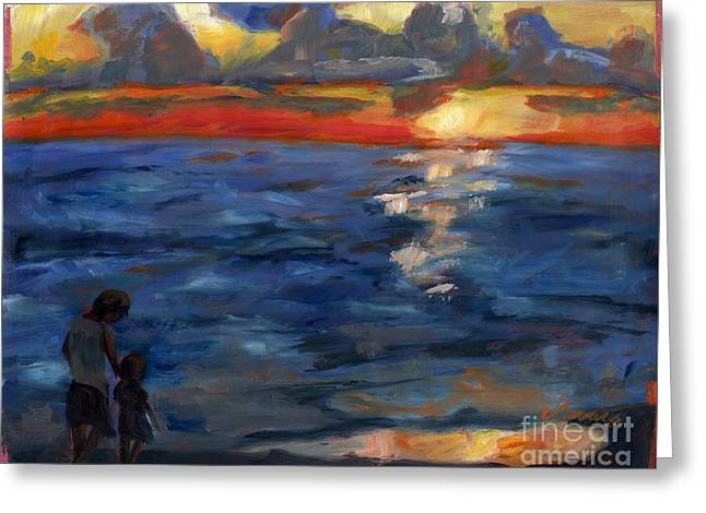 Ocean Landscape Greeting Cards - As the Sun Sets Greeting Card by Jessica Cummings