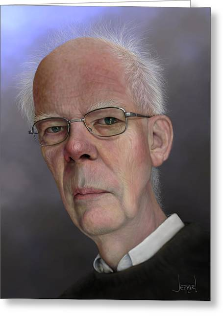 Wacom Tablet Greeting Cards - A.S. Troelstra Caricature Greeting Card by Jephyr Art