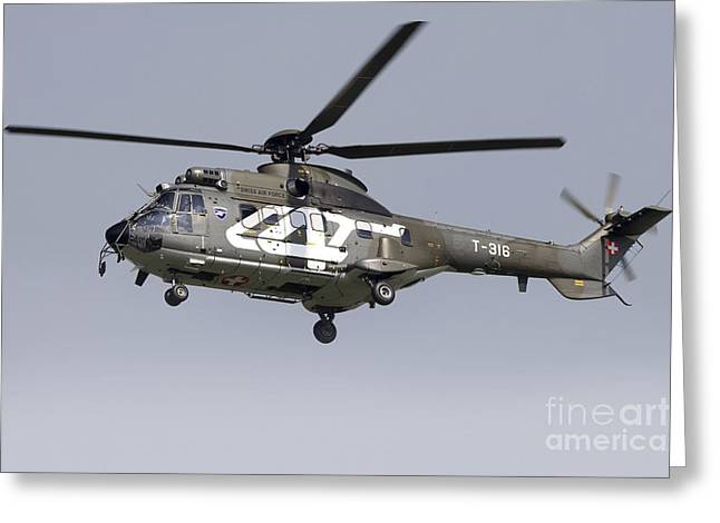 Utility Aircraft Greeting Cards - As332m1 Super Puma Helicopter Greeting Card by Luca Nicolotti