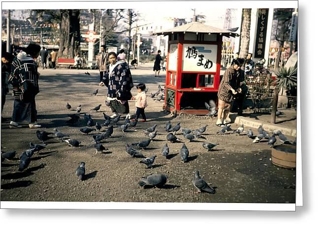 Feeding Birds Greeting Cards - Asakusa Street Scene 2 Greeting Card by The  Vault - Jennifer Rondinelli Reilly