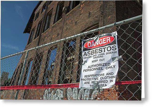 Asbestos Warning Sign Greeting Card by Jim West