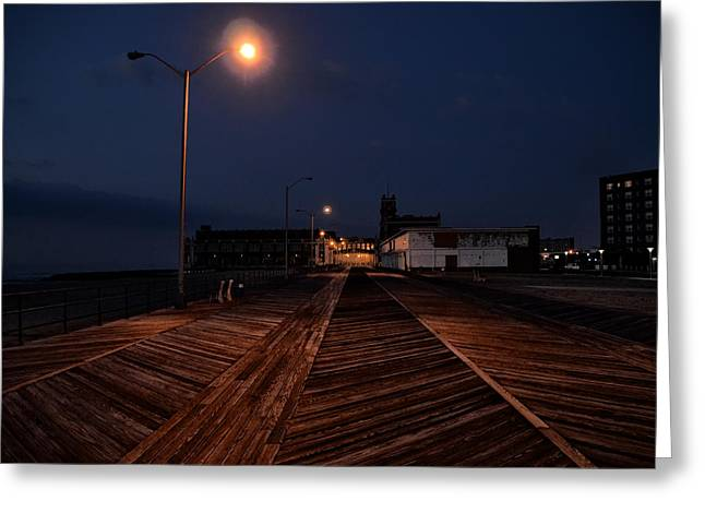 Beach At Night Greeting Cards - Asbury Park Boardwalk at Night Greeting Card by Bill Cannon