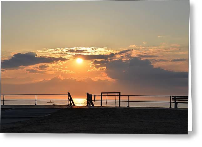 Asbury Greeting Cards - Asbury Park Boarwalk Sunrise Greeting Card by Bill Cannon