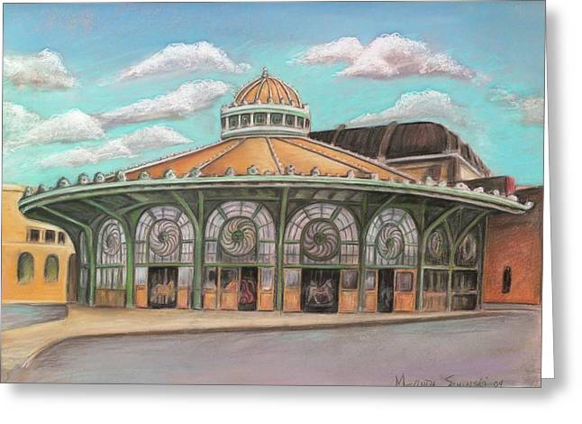 Historic Buildings Bruce Springsteen Greeting Cards - Asbury Park Carousel House Greeting Card by Melinda Saminski