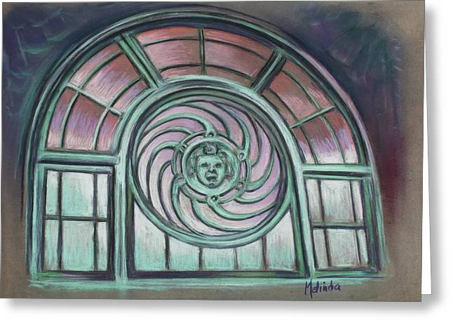 Asbury Park Carousel Window Greeting Card by Melinda Saminski