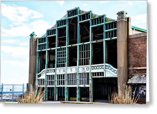 Asbury Park Casino Greeting Cards - Asbury Park Casino - My City in Ruins Greeting Card by Bill Cannon