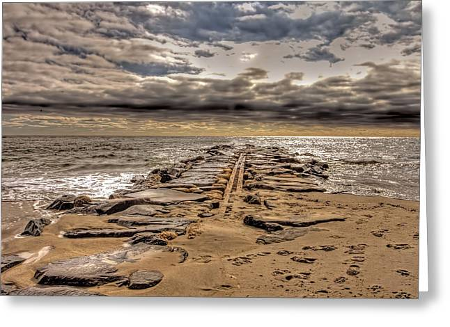 Ocean Art Photography Greeting Cards - Asbury Park New Jersey stormy sky Greeting Card by Geraldine Scull