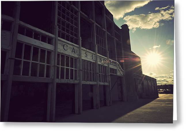 New Jersey History Greeting Cards - Asbury Park NJ Casino Vintage Greeting Card by Terry DeLuco