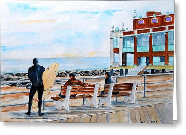 Asbury Park Paintings Greeting Cards - Asbury Park Surfers Greeting Card by Brian Degnon