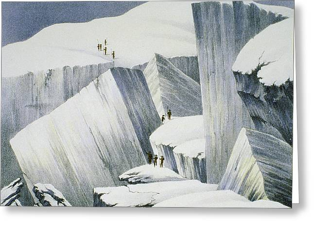 Danger Drawings Greeting Cards - Ascending A Cliff, From A Narrative Greeting Card by English School