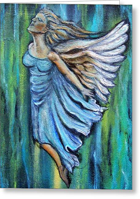 Spiritual Portrait Of Woman Greeting Cards - Ascending Angel Greeting Card by The Art With A Heart By Charlotte Phillips