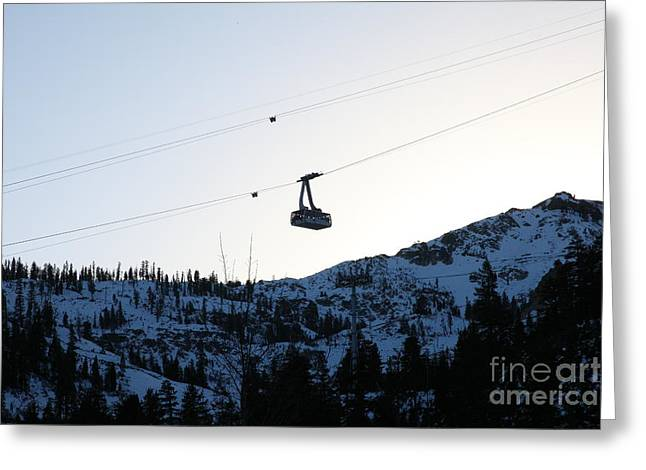 Snow Boarding Greeting Cards - Ascending The Peak at Squaw Valley USA 5D27723 Greeting Card by Wingsdomain Art and Photography