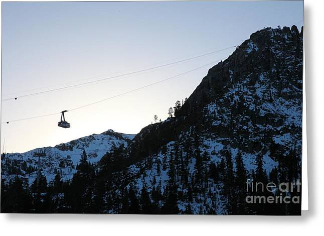 Snow Boarding Greeting Cards - Ascending The Peak at Squaw Valley USA 5D27724 Greeting Card by Wingsdomain Art and Photography