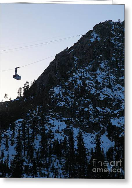 Snow Boarding Greeting Cards - Ascending The Peak at Squaw Valley USA 5D27727 Greeting Card by Wingsdomain Art and Photography